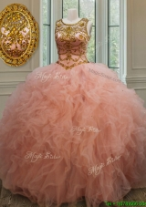 Exquisite See Through Scoop Beaded and Ruffled Quinceanera Dress in Peach