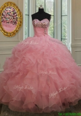 2017 New Style Beaded and Ruffled Pink Quinceanera Dress in Organza