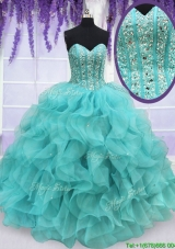 Exclusive Visible Boning Beaded and Ruffled Quinceanera Dress in Aqua Blue