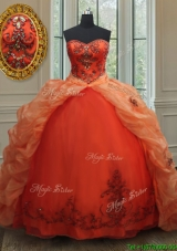Perfect Embroideried and Bubble Orange Quinceanera Dress with Brush Train