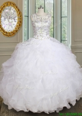 Unique See Through Scoop Beaded and Ruffled Quinceanera Dress in White