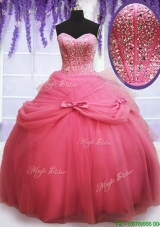 Perfect Tulle Watermelon Red Quinceanera Dress with Beading and Bowknot