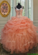 Popular See Through Back Straps Organza Quinceanera Gown with Zipper Up
