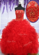 Exclusive Strapless Brush Train Quinceanera Dress with Beading and Ruffles