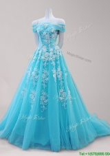 Elegant Off the Shoulder Beaded and Applique Prom Dress in Aqua Blue