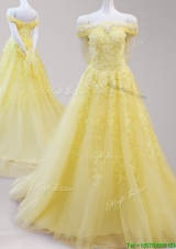 Gorgeous Off the Shoulder Cap Sleeves Yellow Prom Dress with Beading and Appliques