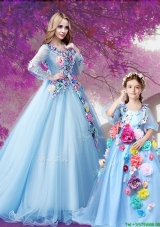 Exclusive V Neck Baby Blue Princesita Quinceanera Dresses with Hand Made Flowers