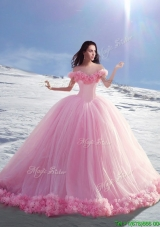 Beautiful Off the Shoulder Cap Sleeves Tulle Quinceanera Dresses with Hand Made Flowers