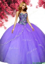Hot Sale Beaded and Applique Quinceanera Dress in Lavender