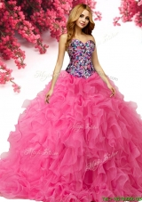 Wonderful Beaded and Ruffled Sweet 16 Dress in Hot Pink
