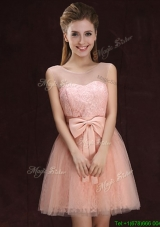 Modern See Through Scoop Laced Pink Prom Dress with Bowknot