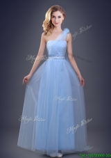 Cute One Shoulder Beaded Bridesmaid Dress with Hand Made Flower