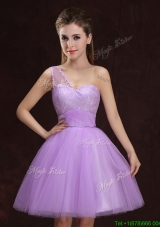 Affordable One Shoulder Tulle Short Bridesmaid Dress with Lace