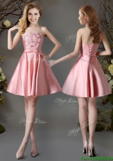 Best Selling Applique and Bowknot Pink Short Bridesmaid Dress in Satin