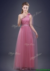Unique One Shoulder Bridesmaid Dress with Beaded Decorated Waist