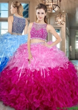 Elegant Two Tone Bateau Side Zipper Quinceanera Dress with Ruffles and Beading