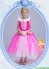 Halloween Elegant Tea Length Hot Pink Little Girl Pageant Dress with Long Sleeves
