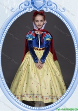 Halloween Pretty A Line Belted and Bowknot Yellow Little Girl Pageant Dress in Printing
