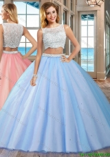 Puffy Brush Train Beaded Bodice Side Zipper Blue Quinceanera Dresses with Bateau