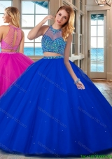 See Through High Neck Brush Train Beaded Bodice Open Back Quinceanera Dresses in Royal Blue