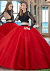 Two Piece Ball Gown Scoop Tulle Appliques Backless Long Sleeves Quinceanera Dresses in Red