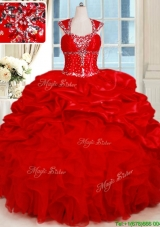 2017 Gorgeous Organza and Taffeta Red Quinceanera Dress with Ruffles and Bubbles