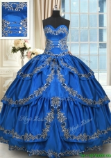 Popular Taffeta Beaded Quinceanera Dress with Ruffled Layers and Embroidery