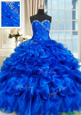 Best Selling Beaded and Ruffled Sweetheart Quinceanera Dress in Royal Blue