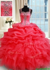 Gorgeous See Through Back Zipper Up Straps Organza Quinceanera Dress in Coral Red