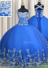 Classical Really Puffy Beaded and Applique Straps Quinceanera Dress in Blue