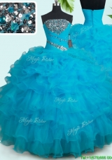Discount Zipper Up Strapless Quinceanera Dress with Ruffled Layers and Beading