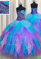 Elegant Beaded and Ruffled Rainbow Colored Quinceanera Dress in Tulle and Sequins