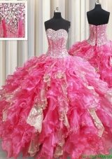 Best Selling Visible Boning Ruffled Hot Pink Quinceanera Dress in Organza and Sequins