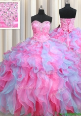 Most Popular Organza Rose Pink and Light Blue Quinceanera Dress with Ruffles