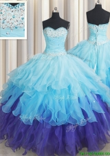 Top Seller Beaded and Ruffled Organza Quinceanera Dress in Gradient Color
