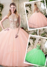 2017 Modest See Through Bateau Peach Quinceanera Dresses with Beading