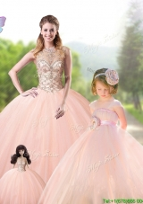 New Arrivals See Through Peach Tulle Princesita Quinceanera Dresses with Beading