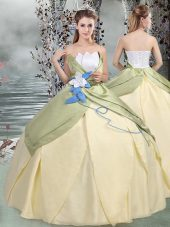 Perfect Scalloped Sleeveless Quinceanera Gown Floor Length Ruching and Hand Made Flower Multi-color Taffeta