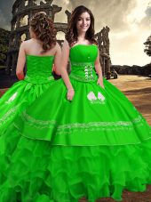 Dazzling Floor Length Zipper Sweet 16 Quinceanera Dress Green for Military Ball and Sweet 16 and Quinceanera with Embroidery and Ruffled Layers