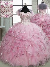 Baby Pink Sweetheart Lace Up Beading and Ruffles Quinceanera Gowns Brush Train Sleeveless