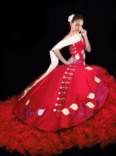 Designer Red Ball Gowns Taffeta V-neck Sleeveless Embroidery and Ruffles Lace Up Quinceanera Dresses Brush Train