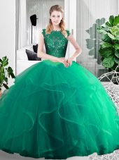Designer Turquoise Two Pieces Scoop Sleeveless Tulle Floor Length Zipper Lace and Ruffles Sweet 16 Quinceanera Dress