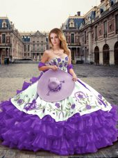 Lavender Sleeveless Organza Lace Up Quinceanera Gown for Military Ball and Sweet 16 and Quinceanera