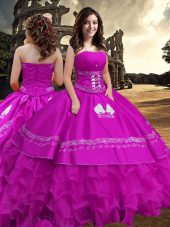 On Sale Strapless Sleeveless Ball Gown Prom Dress Floor Length Embroidery and Ruffled Layers Fuchsia Taffeta