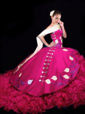 Flirting Fuchsia V-neck Neckline Embroidery and Ruffles Ball Gown Prom Dress Sleeveless Lace Up