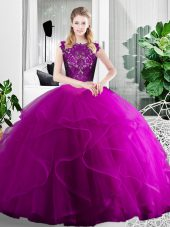 Fuchsia Scoop Zipper Lace and Ruffles Quinceanera Gown Sleeveless