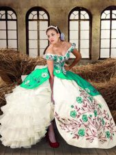 Ball Gowns Sweet 16 Dress Multi-color Off The Shoulder Taffeta Sleeveless Floor Length Lace Up