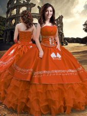 Spectacular Taffeta Strapless Sleeveless Zipper Embroidery and Ruffled Layers Ball Gown Prom Dress in Rust Red