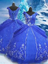Elegant Tulle V-neck Short Sleeves Lace Up Beading and Appliques Quinceanera Gown in Blue
