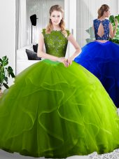 Floor Length Two Pieces Sleeveless Olive Green Sweet 16 Quinceanera Dress Zipper